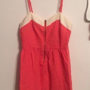 Anthropologie Petticoat Alley Coral Linen Dress